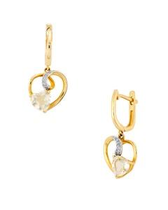 Aretes de Oro Amarillo con 3 Pts Diamante y 152 Pts Olivina