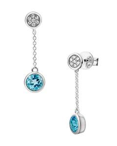 Aretes de Oro Blanco con 5 Pts de Diamante y 64 Pts de Topacio Azul