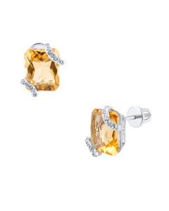 Aretes de Oro Blanco con 5 Pts de Diamante y 608 Pts de Citrina