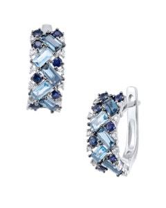 Arracadas de Oro Blanco de 14K con 8 Pts.Diamante y Topacio Azul, y Zafiro