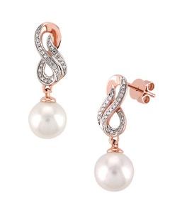 Aretes de Oro Rosa y Blanco con 12 Pts . de Diamante y Perla