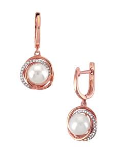 Aretes de Oro Rosa con 14 Pts Diamante y Perla