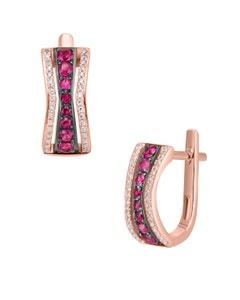 Aretes de Oro Rosa 14K con 12Pts de Diamante y Rubi