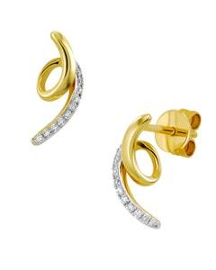 Aretes de Oro Amarillo con 6 Pts Diamante