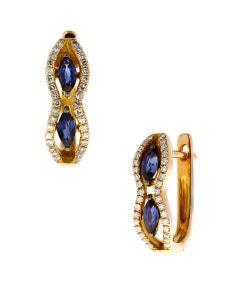 Arracadas de Oro Rosa con 14 Pts. Diamante y 40 Pts. ZáFiro Azul 14K