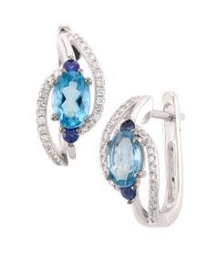 Arracadas de Oro Blanco con 12 Pts. Diamante 12 Pts. ZáFiro Azul y 113 Pts. Topacio 14K