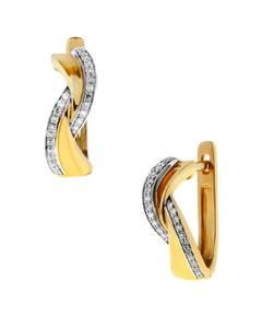 Arracadas de Oro Amarillo y Blanco 14K con 12 Pts de Diamante