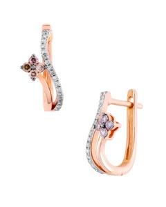Aretes de Oro Rosa con 11 Pts de Diamante Blanco y 15 Pts de Diamante Cafe