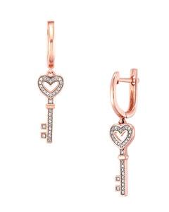 Aretes de Oro Rosa con 13 Pts .Diamante