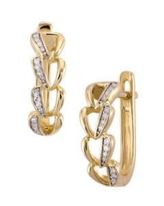 Aretes de Oro Amarillo con 8 Pts . Diamante