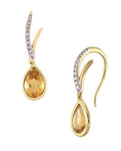 Aretes de Oro Amarillo con 7 Pts de Diamante y 131 Pts de Citrina