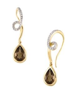 Aretes de Oro Amarillo con 12 Pts Diamante y 133 Pts de Cuarzo Smoky