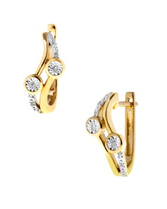 Arracadas de Oro Amarillo 14K con Platinado y 4 Pts de Diamante