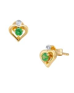 Aretes de Oro Amarillo con 1 Pts de Diamante y Savorite