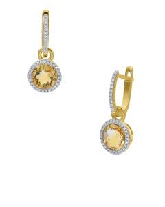 Aretes Oro Amarillo 14K Con 19 Pts De Diamante Y Citrina