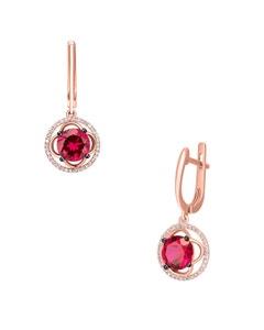 Aretes de Oro Rosa 14K con 18Pts de Diamante y Rubi