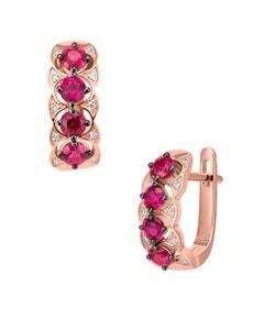Arracadas de Oro Rosa 14K con 6 Puntos de Diamante y Rubi