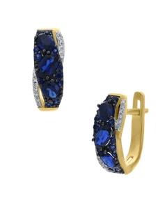 Arracadas de Oro Amarillo 14K con 8Pts de Diamante y Zafiro