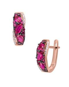 Aretes de Oro Rosa 14K con 8Pts de Diamante y Rubi