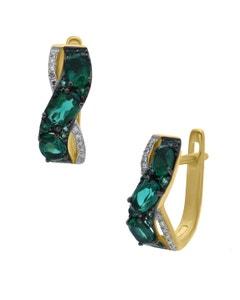 Arracadas de Oro Amarillo 14K con 7Pts de Diamante y Esmeralda