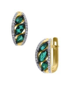 Arracadas de Oro Amarillo 14K con 22Pts de Diamante y Esmeralda