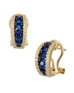 Aretes de Oro Amarillo con Piedras Azules