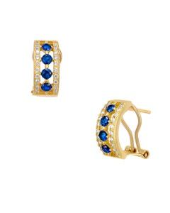 Aretes de Oro Amarillo con Piedras Azules y Zirconias