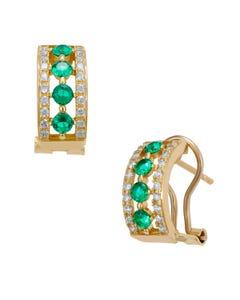 Aretes de Oro Amarillo y Blanco con Piedras Verdes