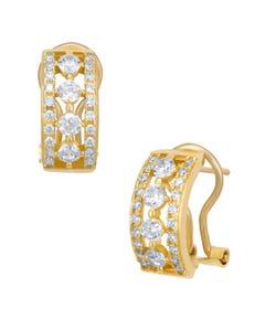 Aretes de Oro Amarillo con Piedras Blancas