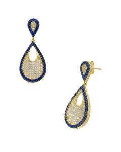 Aretes de Oro Amarillo 14K con Zirconias Blancas y Azules