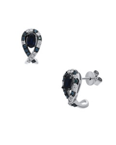 Aretes de Oro Blanco 14K con 29Pts de Diamante Blanco y Azul (G-H) (Vs1-Vs2) con Zafiro