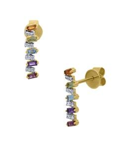 Aretes de Oro Amarillo 14K con 8Pts de Diamante (Baguette) y Piedras de Color (G-H, I1-I2)