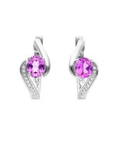 Aretes De Oro Blanco 14K Con 4Pts De Diamante Y Zafiro Rosa (Vs1-Vs2) (G-H)