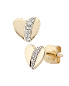 Broqueles de Oro Amarillo con 4 Puntos de Diamante 14K