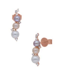 Aretes de Oro Rosa 14K con 14Pts de Diamante y Perlas de Color (G-H, S-I)