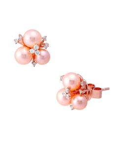 Aretes de Oro Rosa con 15 Pts . de Diamante y Perlas Rosas