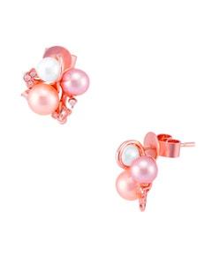 Aretes de Oro Rosa con 10 Pts . de Diamante y Perlas de Varios Tonos