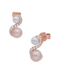 Aretes de Oro Rosa 14K con 27Pts de Diamante y Perlas de Color (G-H, S-I)