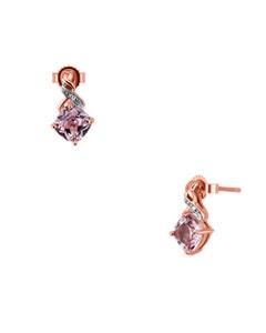 Aretes de Oro Rosa 14K con 1Pto de Diamante (H-I) (I1-I2) y Zafiro