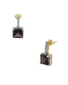 Aretes de Oro Amarillo 14K con 3Pts de Diamante y Smoky