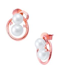 Aretes de Oro Rosa con 4 Pts . de Diamante y Perlas