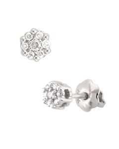 Broqueles de Oro Blanco 14K con 8 Pts de Diamante