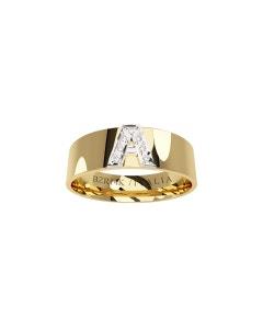 Argolla de Oro Amarillo y Blanco con 7 Diamantes de 0.50