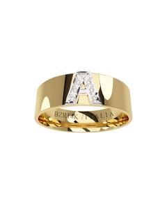 Argolla de Oro Amarillo y Blanco con 7 Pts de Diamante (Varias Letras)