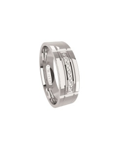 Argolla de Oro Blanco con 7 Diamante de 0.50