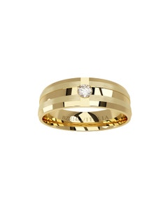 Argolla de Oro Amarillo con Un Diamante de 3 Puntos