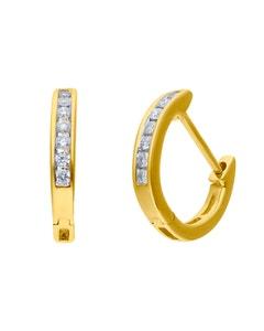 Arracadas Oro Amarillo 14k Con 15pt De Diamante