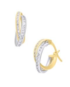 Arracadas de Oro Amarillo y Blanco 14 K con Zirconias 10Mm