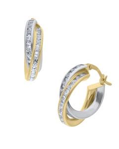 Arracadas de Oro Amarillo y Blanco 14K con Zirconias 12Mm