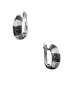 Arracadas de Oro Blanco 14K con 42Pts de Diamante Blanco y Negro